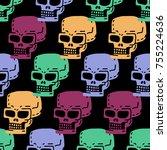 skull cartoon seamless pattern. ... | Shutterstock . vector #755224636