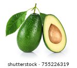 avocado with leaf isolated on...   Shutterstock . vector #755226319