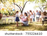 family celebration or a garden... | Shutterstock . vector #755226610
