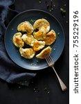 fried dumplings with meat... | Shutterstock . vector #755229196