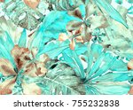 tropical pattern. watercolor... | Shutterstock . vector #755232838