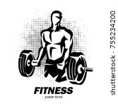 athlete with barbell silhouette ... | Shutterstock .eps vector #755234200