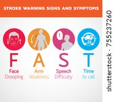 stroke warning signs and... | Shutterstock .eps vector #755237260