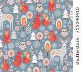 seamless pattern with winter... | Shutterstock .eps vector #755240410