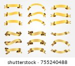 ribbon banner set. golden... | Shutterstock .eps vector #755240488