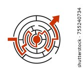 red path across circular... | Shutterstock .eps vector #755240734