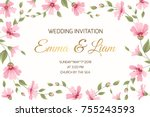 wedding marriage event... | Shutterstock .eps vector #755243593