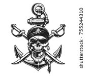 pirate skull emblem with swords ... | Shutterstock . vector #755244310
