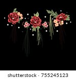 patch flowers embroidery   Shutterstock .eps vector #755245123