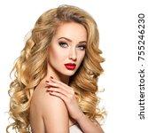 portrait of the blonde woman... | Shutterstock . vector #755246230