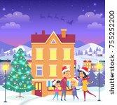 happy family near orange house...   Shutterstock .eps vector #755252200