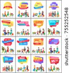 set of promo labels on posters... | Shutterstock .eps vector #755252548