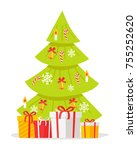 christmas tree with gift boxes... | Shutterstock .eps vector #755252620