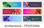 vector horizontal banner... | Shutterstock .eps vector #755253346