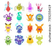 vector cartoon style set of... | Shutterstock .eps vector #755255419