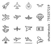 thin line icon set   rocket ... | Shutterstock .eps vector #755257219