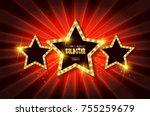 retro light sign. three gold... | Shutterstock .eps vector #755259679
