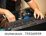 computer technician installs... | Shutterstock . vector #755260939