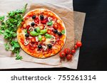 hot pizza with pepperoni... | Shutterstock . vector #755261314