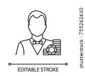 croupier linear icon. casino... | Shutterstock .eps vector #755262610