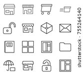 thin line icon set   shop ... | Shutterstock .eps vector #755264140