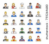 professions color icons set.... | Shutterstock .eps vector #755264680