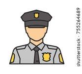 policeman color icon. police... | Shutterstock .eps vector #755264689