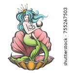 long haired mermaid in an open... | Shutterstock .eps vector #755267503