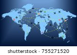 plane routes over world map... | Shutterstock .eps vector #755271520