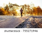 man out running in the park on... | Shutterstock . vector #755271946
