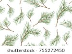 seamless pattern of pine... | Shutterstock .eps vector #755272450