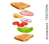 toasted loaf of bread with... | Shutterstock .eps vector #755273596