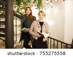 stylish mom and daughter are...   Shutterstock . vector #755275558