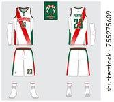 basketball uniform or sport... | Shutterstock .eps vector #755275609