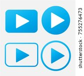play button icon in trendy flat ... | Shutterstock .eps vector #755276473