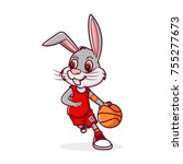 rabbit dribbling basketball ... | Shutterstock .eps vector #755277673