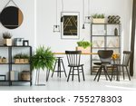 black and white dining room... | Shutterstock . vector #755278303
