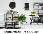 open space white dining room... | Shutterstock . vector #755278309