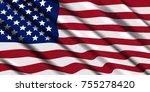 american flag ripple. vector... | Shutterstock .eps vector #755278420