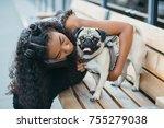african american curly women... | Shutterstock . vector #755279038
