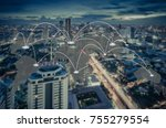 connection and network system... | Shutterstock . vector #755279554