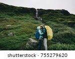 beautiful  couple posing  on... | Shutterstock . vector #755279620