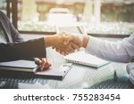 businessman handshaking process ... | Shutterstock . vector #755283454