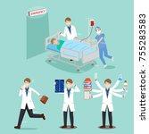cartoon doctor with patient on... | Shutterstock . vector #755283583
