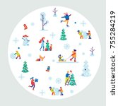 merry christmas background with ... | Shutterstock .eps vector #755284219