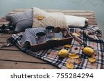 autumn picnic with two cups of