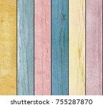 seamless colored wooden texture | Shutterstock . vector #755287870