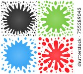 set of four splashes with lots... | Shutterstock .eps vector #755289043