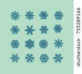 blue snowflakes icon on green... | Shutterstock .eps vector #755289166