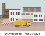 building factory industry zone. ... | Shutterstock .eps vector #755294326
